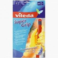 Vileda Super Grip Резиновые перчатки хозяйсвтенные универсальные с рельефным профилел и внутренним хлопковым напылением Размер 8 M Средний