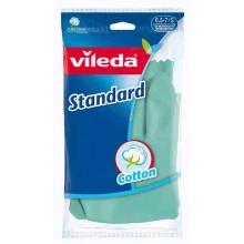 Vileda Standard Резиновые перчатки хозяйственные с внутренним хлопковым напылением Размер 6,5-7 S Маленький