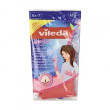 Vileda Style Перчатки латексные хозяйственные универсальные с внутренним хлопковым напылением Размер 7,5-8 М Средний