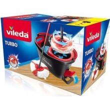 Vileda Easy Wring & Clean Turbo Набор для уборки Швабра с насадкой из микрофибры круглой веревочной + Ведро роторное с педальным отжимом 12 л