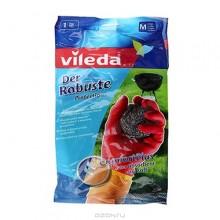 Vileda Protector Перчатки латексные с неопреновым внешним покрытием и питывающим пот и влагу внутренним напылением трехслойные особо прочные Размер 8 M Средний