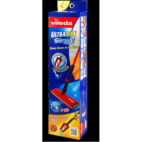 Vileda Ultramax Easy Twist Швабра с разборной ручкой и отжимом плоская с насадкой из микрофибры
