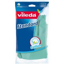 Vileda Standard Резиновые перчатки хозяйственные с внутренним хлопковым напылением Размер 7,5-8 M Средний