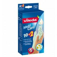 Vileda Multi Care Перчатки резиновые одноразовые с увлажняющим бальзамом ромашки 10 шт Размер S/M