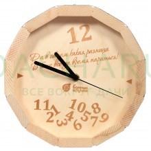 Часы кварцевые в форме бочки «В бане всегда время париться!» для бани и сауны 27*8 см