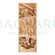 Дверь глухая из цельного массива «Озорной Дед» 1,9х0,7 м., липа Класс А, коробка из сосны