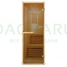 Дверь из стекла 100%, 1,9х0,7 м бронза 6 мм, коробка из хвойных пород, 2 петли, в гофрокоробе, правое открывание