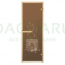 Дверь из стекла «Банька»1,9х0,7 м бронза 6мм, коробка из хвойных пород, 2 петли, в гофрокоробе, правое открывание