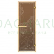 Дверь из стекла «Банька в лесу»1,9х0,7 м бронза 6мм, коробка из хвойных пород, 2 петли, в гофрокоробе, правое открывание