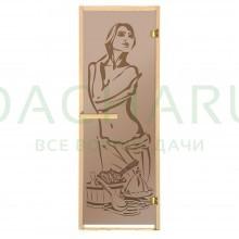 Дверь из стекла «Искушение» 1,9х0,7 м.,бронза МАТОВАЯ 6 мм, коробка из хвойных пород, 2 петли, в гофрокоробе, правое открывание