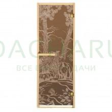 Дверь из стекла «Мишки»1,9х0,7 м бронза 6мм, коробка из хвойных пород, 2 петли, в гофрокоробе, правое открывание