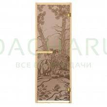 Дверь из стекла «Мишки»1,9х0,7 м бронза МАТОВАЯ 6 мм, коробка из хвойных пород, 2 петли, в гофрокоробе,правое открывание