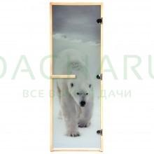 Дверь из стекла с фотопечатью «Белый медведь» 1,9х0,7 м, 8 мм, коробка из хвойных пород, 3 петли, в гофрокоробе, правое открывание