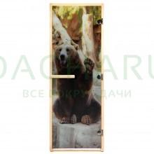 Дверь из стекла с фотопечатью «Бурый медведь» 1,9х0,7 м, 8 мм, коробка из хвойных пород, 3 петли, в гофрокоробе, правое открывание