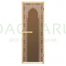 Дверь из стекла «Восточная арка»1,9х0,7 м бронза 6мм, коробка из хвойных пород, 2 петли, в гофрокоробе, правое открывание