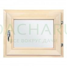 Форточка в парную, двойное стекло, 0,4Вх0,5Ш м с ручкой, затвором, петлями