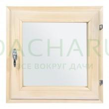Форточка в парную, двойное стекло, 0,5Вх0,5Ш м с ручкой, затвором, петлями