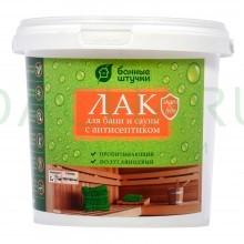 Лак бесцветный, для защиты и декоративной отделки деревянных поверхностей в бане и сауне Чистая банька 0,9 кг