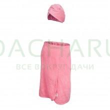 Махровый комплект для женщин (накидка 140х80см + чалма), цвет