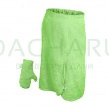 Махровый комплект для женщин (накидка 140х80см + рукавица), цвет