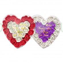 Мыльные цветы «Розы» в коробке в форме сердца 24 шт.