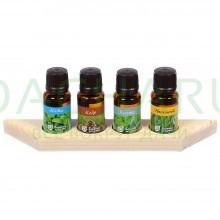 Набор эф.масел «Дыхание леса» (эвкалипт,пихта,кедр,мята) 4 масла по 15 мл на дерев.полочке