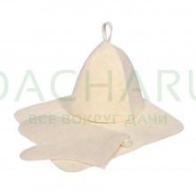Набор из трех предметов (Шапка, коврик, рукавица) белый