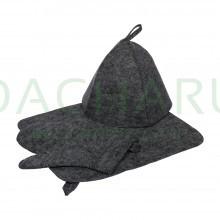 Набор из трех предметов (Шапка, коврик, рукавица) серый