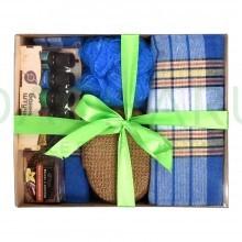 Подарочный Банный набор для мужчин (Синий) 5 предметов