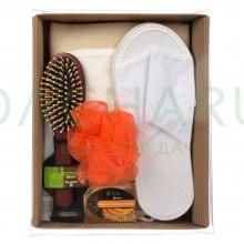 Подарочный набор «уют» 6 предметов (мыло, мочалка-бант, расчёска, тапочки, мочалка «Кесе», накидка)