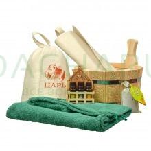 Подарочный набор «Здоровый дух» 6 предметов (ушат, накидка, шапка, коврик, набор масел, запарка)