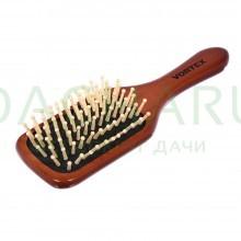 Расческа деревянная, массажная, 20х6х3,5 см, «прямоугольник», с деревянными зубчиками