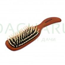 Расческа деревянная, массажная, 23,5х6х3,5 см, «волна», с деревянными зубчиками
