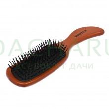 Расческа деревянная, массажная, 23,5х6х3,5 см, «волна», с пластиковыми зубчиками