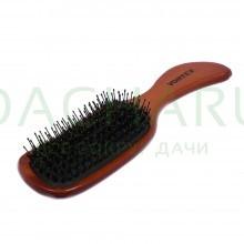 Расческа деревянная, массажная, 23,5х6х3,5 см, «волна», с пластиковыми зубчиками и натуральной щетиной