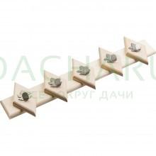 Вешалка 52*13 см, 5 металлических крючков-клён,липа