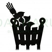 Вешалка металлическая 3 крючка «Веник и ушат» 11*13,5 см