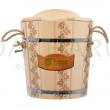 Запарник 14 л. «Цветочный орнамент» с пластиковой вставкой с крышкой, липав кор.