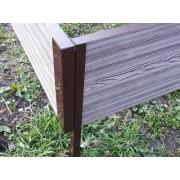 Угловой элемент металл 90 град для средней грядочной доски из ДПК 225*30мм. Коричневый (1шт.)