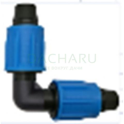 Коннектор угловой, с зажимной гайкой для трубки 16ммсо стенкой от 0,9мм до 1,2мм (EC0216)