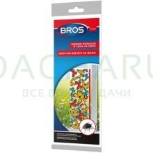 BROS - липкая полоска от мух и фруктовых мошек на окно, горшки, (декоративная) 4 шт