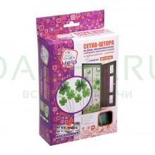 Сетка-штора на дверь ПРОТИВОМОСКИТНАЯ с рисунком, магнитами и крепежом, 45*210 см, 2шт. в упаковке