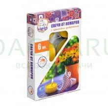 Свечи чайные от КОМАРОВ, c ароматом цитронеллы, 6 шт. в уп.