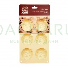 Форма силиконовая «Розы» 25,5*16,5*3,5 см, 6 ячеек