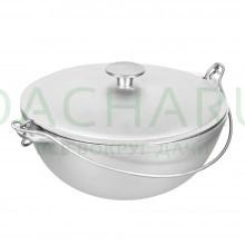 Казан алюминиевый литой с крышкой 4 л, азиатская чаша