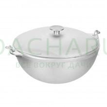 Казан алюминиевый литой с крышкой 6 л, азиатская чаша