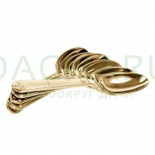 Ложки столовые PREMIUM цвет-золото, одноразовые, пластиковые 6 шт в упаковке
