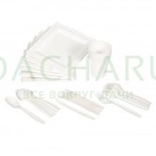 Набор для пикника БИОразлагаемый (тарелки, стаканы, вилки, ложки, ножи по 6 шт) в коробке