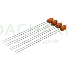 Набор двойных шампуров 38 см с деревянными ручками, 4 шт в упаковке