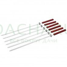 Набор плоских шампуров 55 см с деревянными ручками с кольцами, 6 шт в упаковке